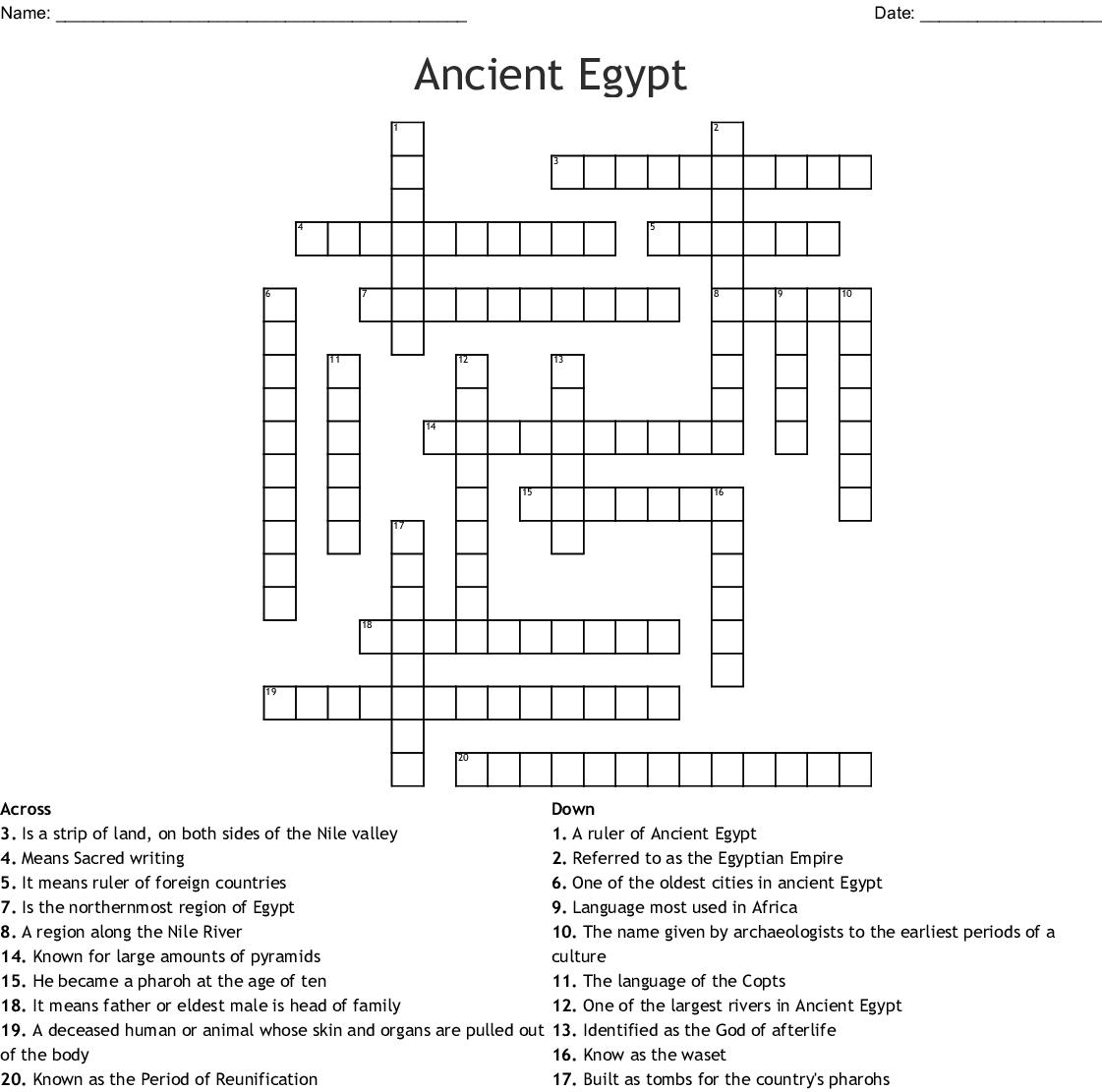 Ancient Egypt Crossword