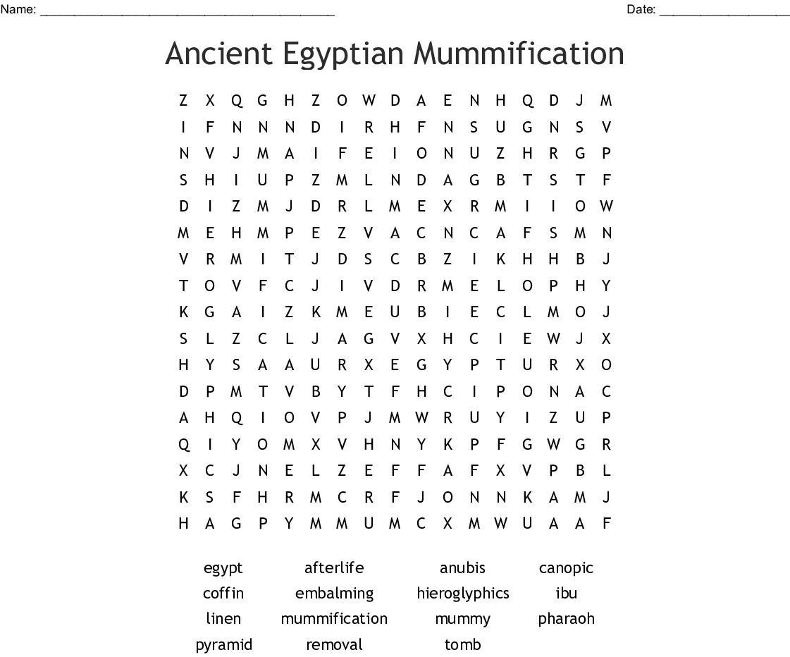 Mummy Word Search
