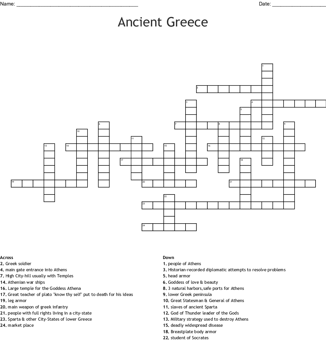 Greece And Rome Crossword Puzzle