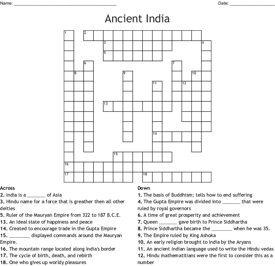 Ancient India Crossword