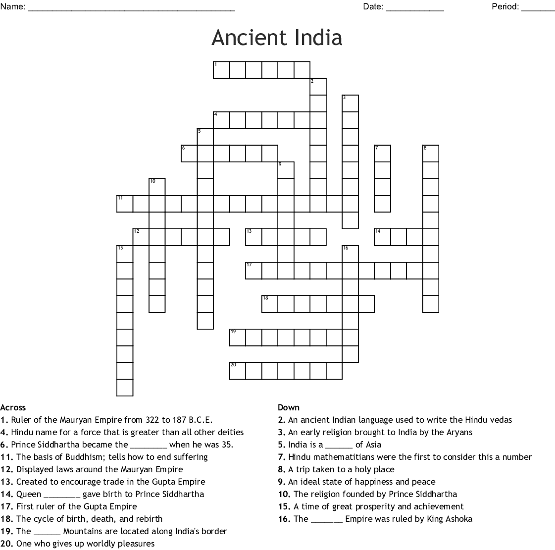 Chapter 7 Ancient India Crossword Puzzle Answer Key