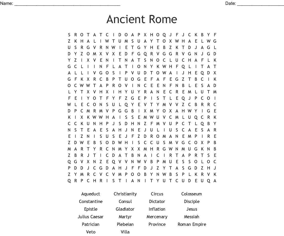 The Roman Empire Word Search