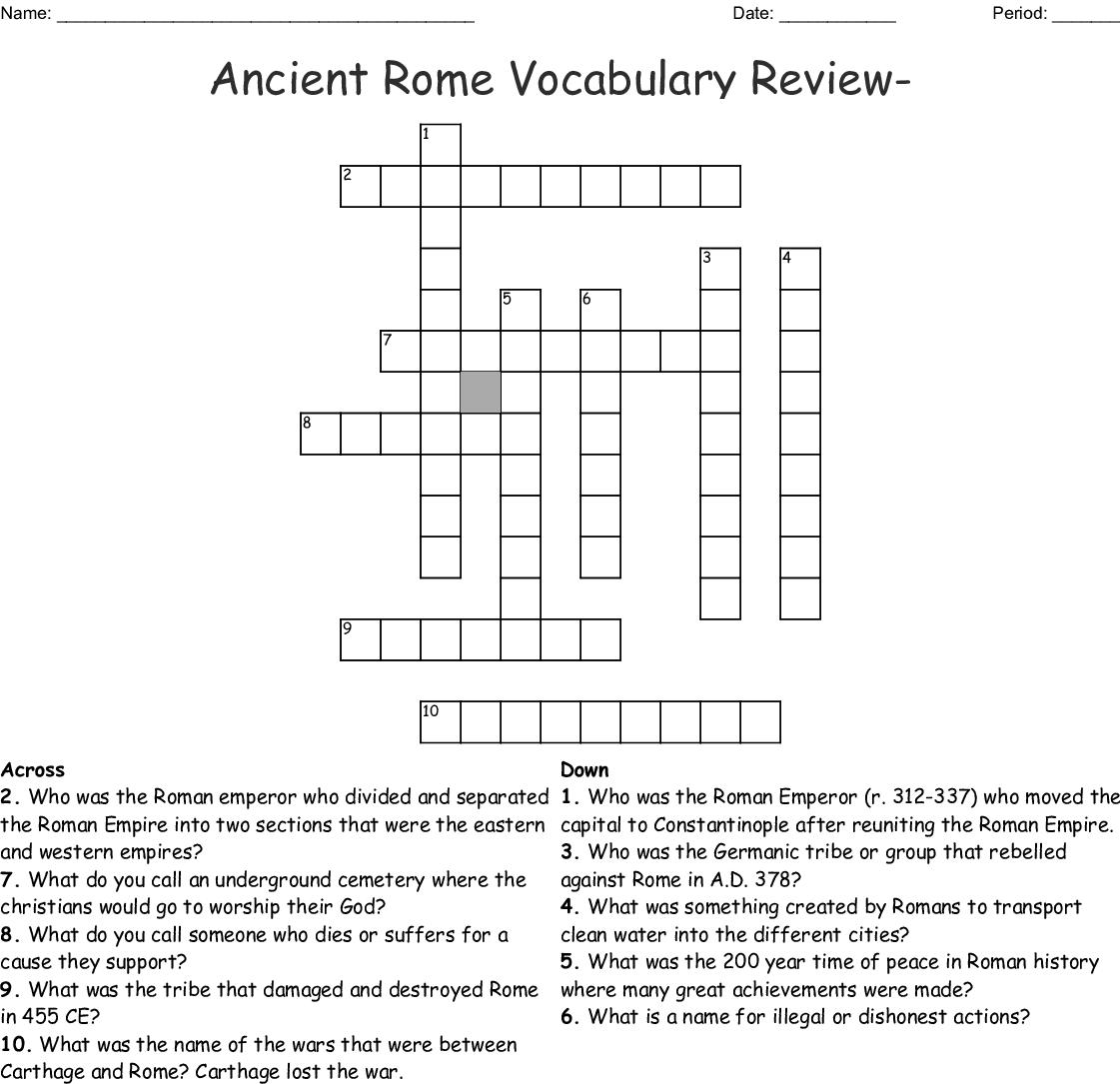 Ancient Roman Worksheet Grade 3