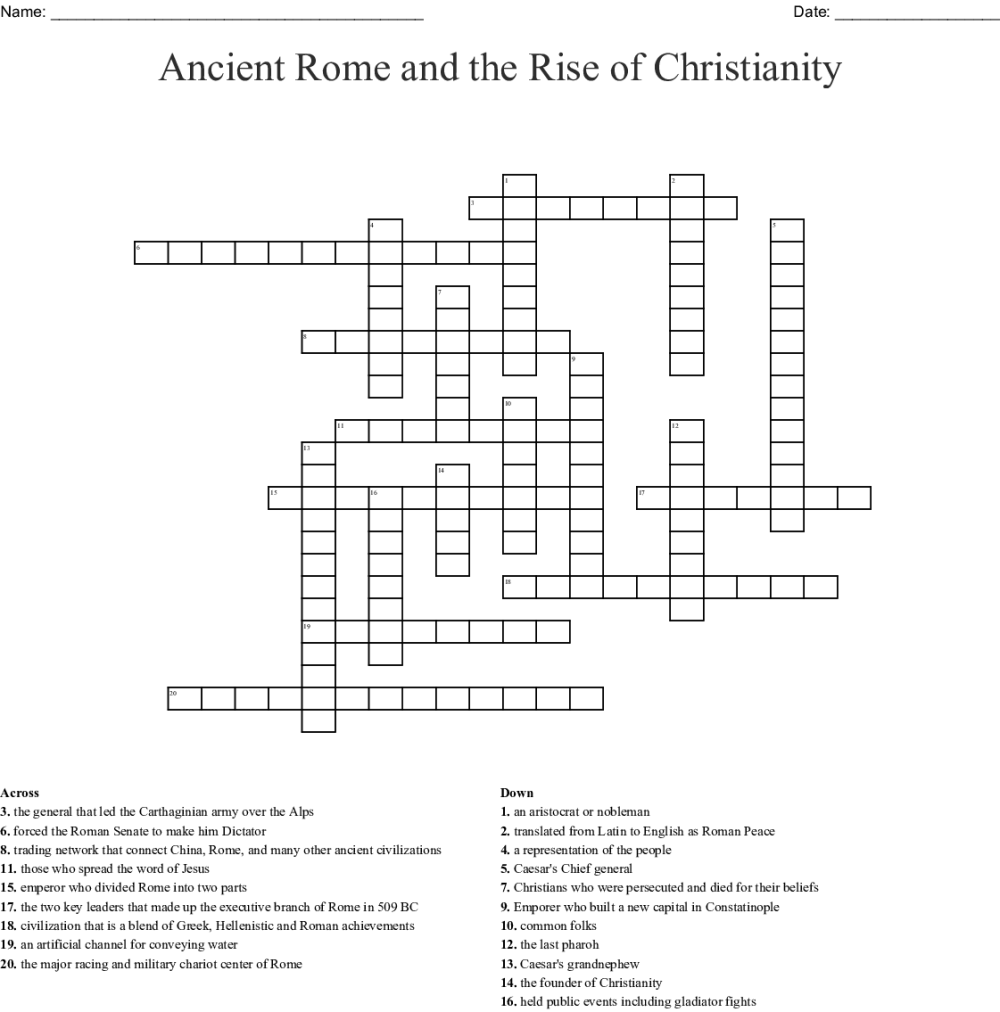 medium resolution of ancient rome and the rise of christianity crossword