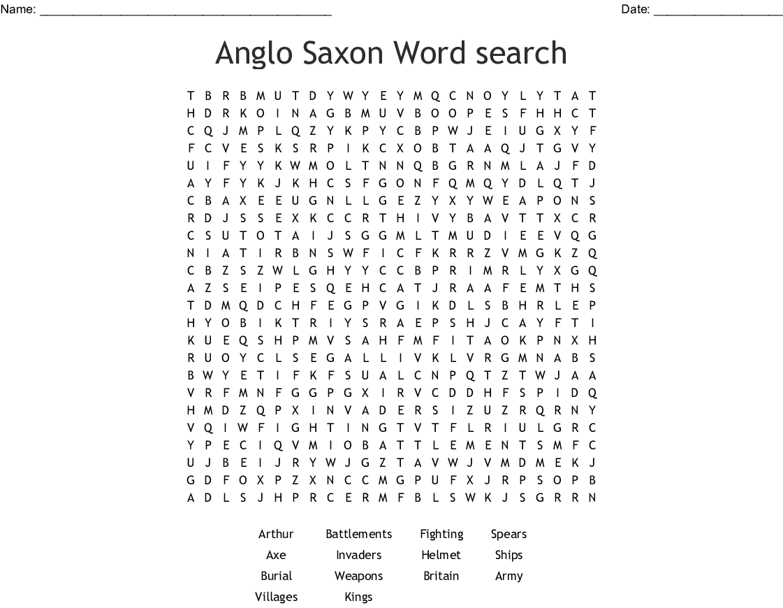 Anglo Saxon Word Search