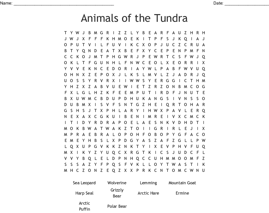 Wildlife Crosswords Word Searches Bingo Cards
