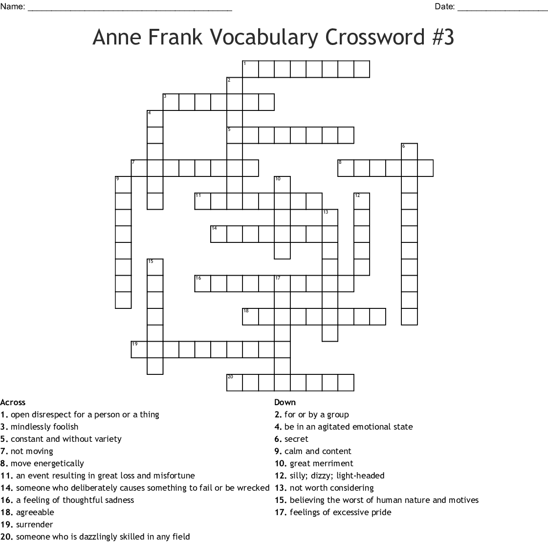 Counting By 7 S Crossword Puzzle