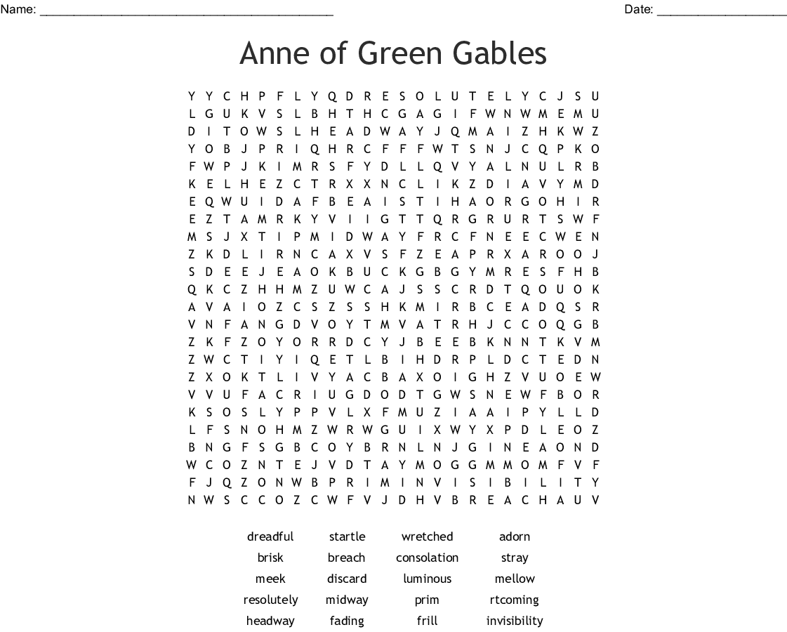 Anne Of Green Gables Word Search Vocab