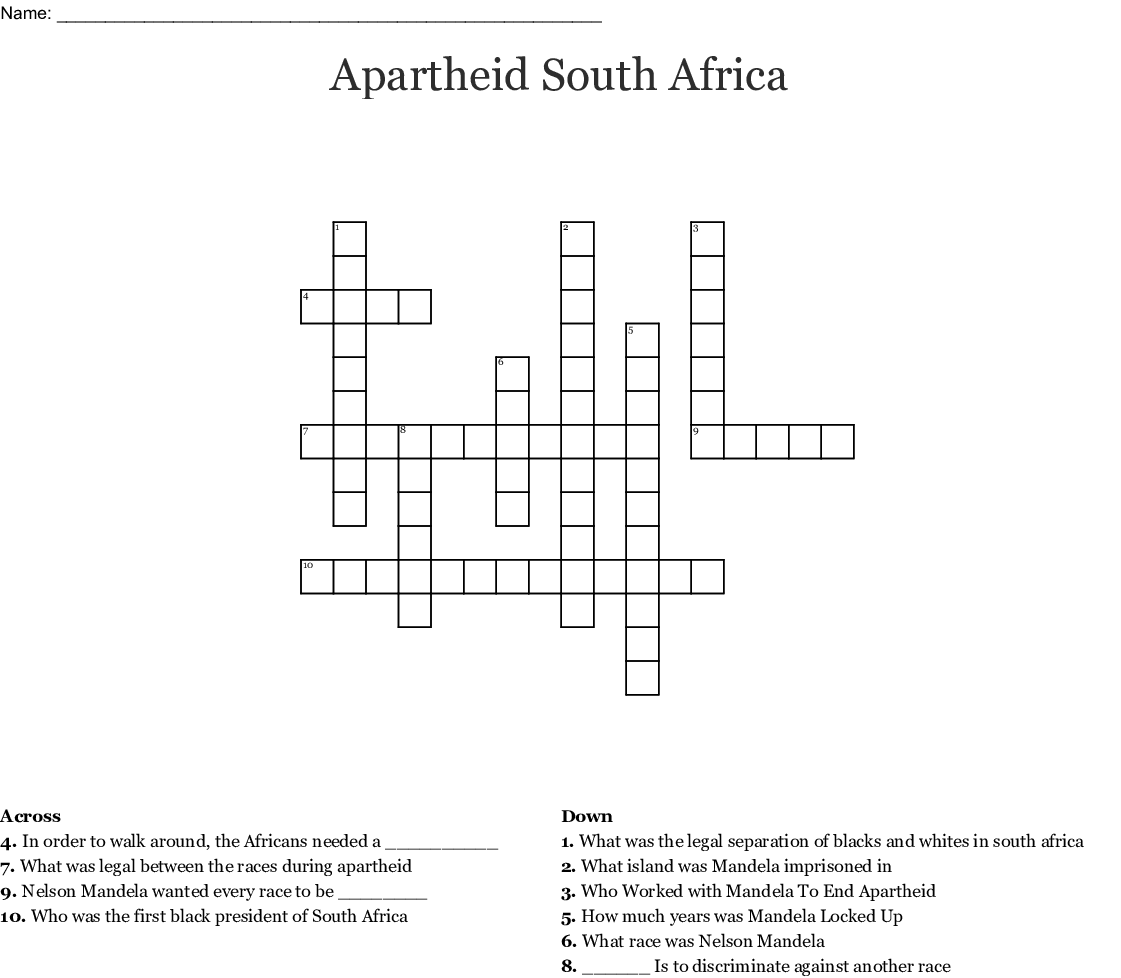 Apartheid South Africa Crossword