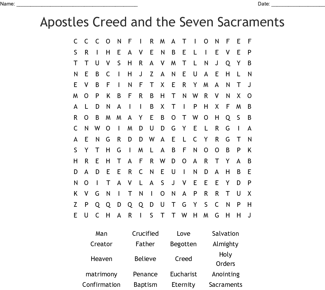 Apostles Creed Worksheet