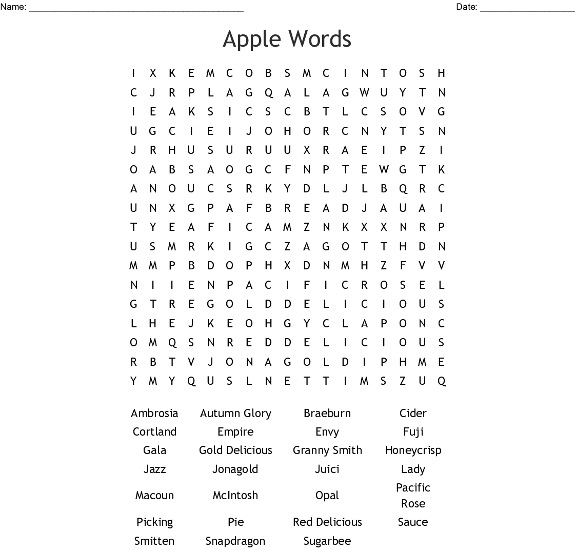 Apple Words Word Search