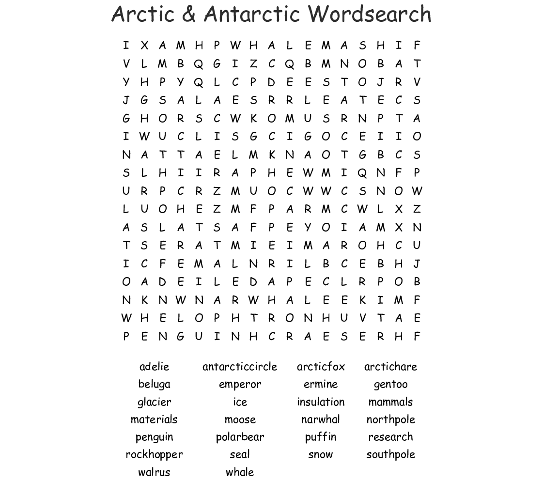 Arctic Amp Antarctic Wordsearch