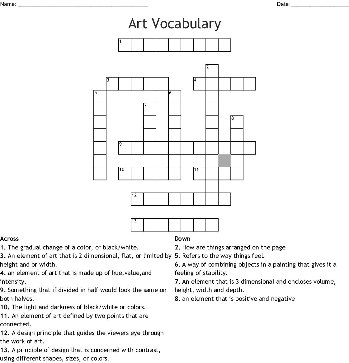 Elements Of Art Amp Principles Of Design Crossword