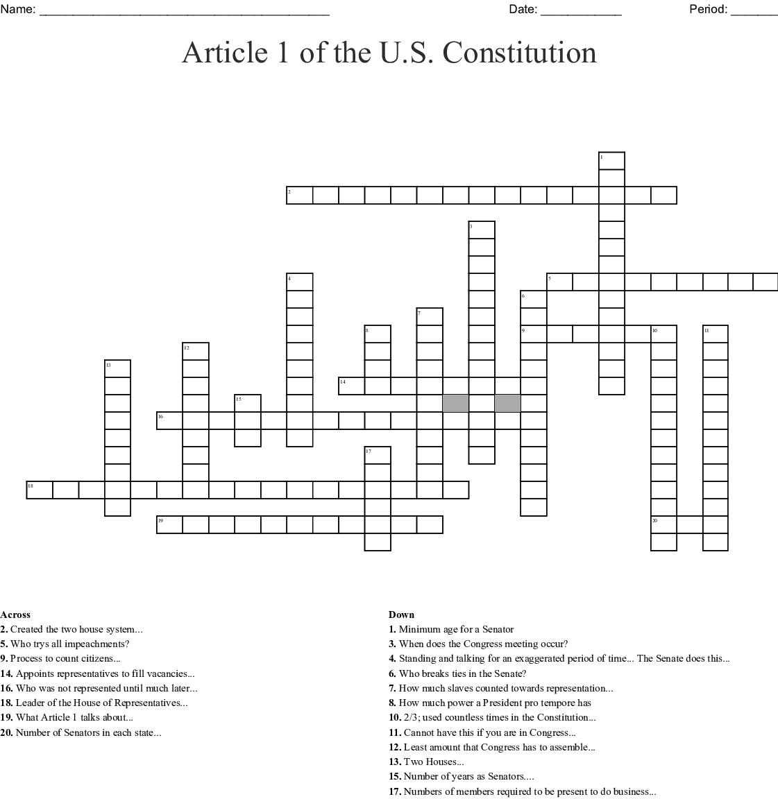 Legislative Branch Crossword Puzzle