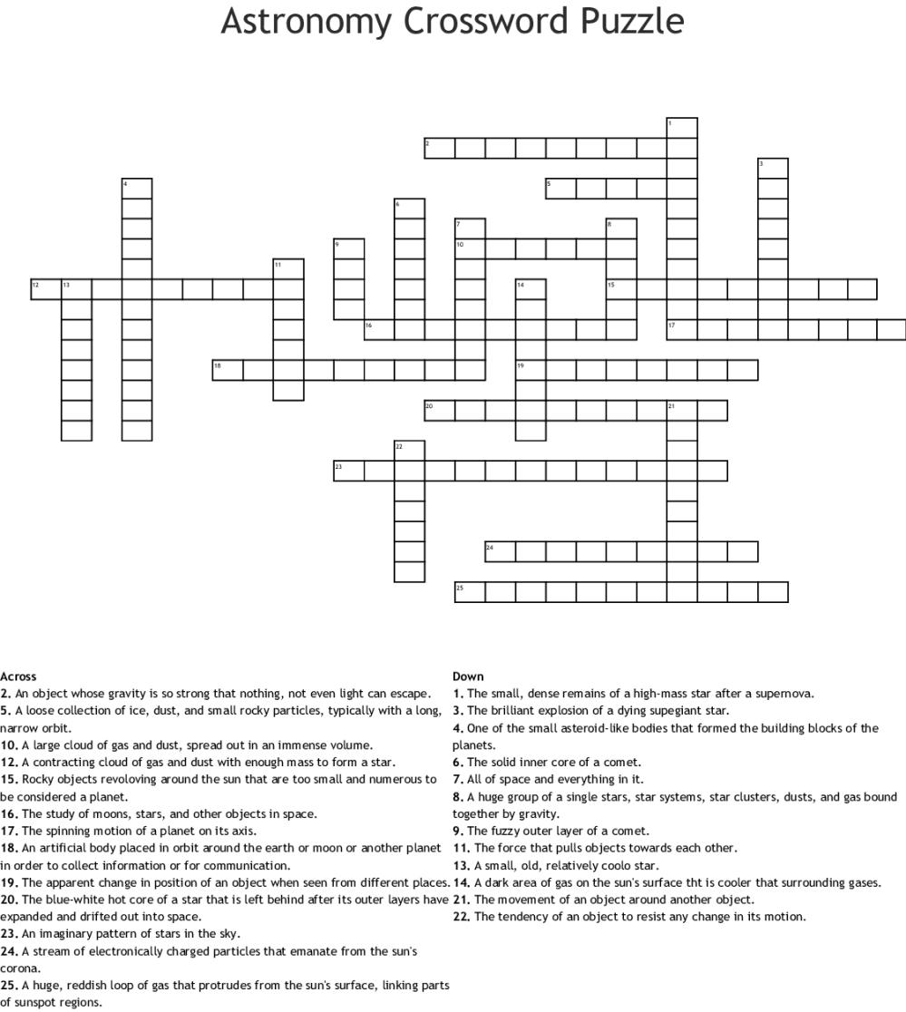 medium resolution of Astronomy Crossword Puzzle - WordMint