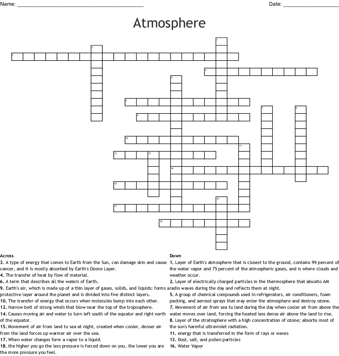 Atmosphere Crossword