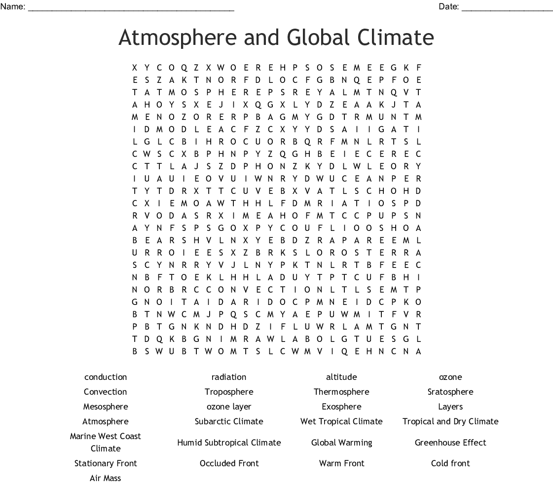 Atmosphere And Global Climate Word Search