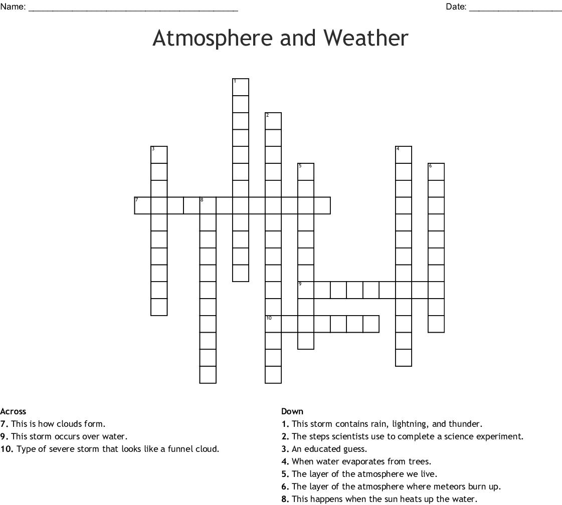 Rain Clouds Crossword