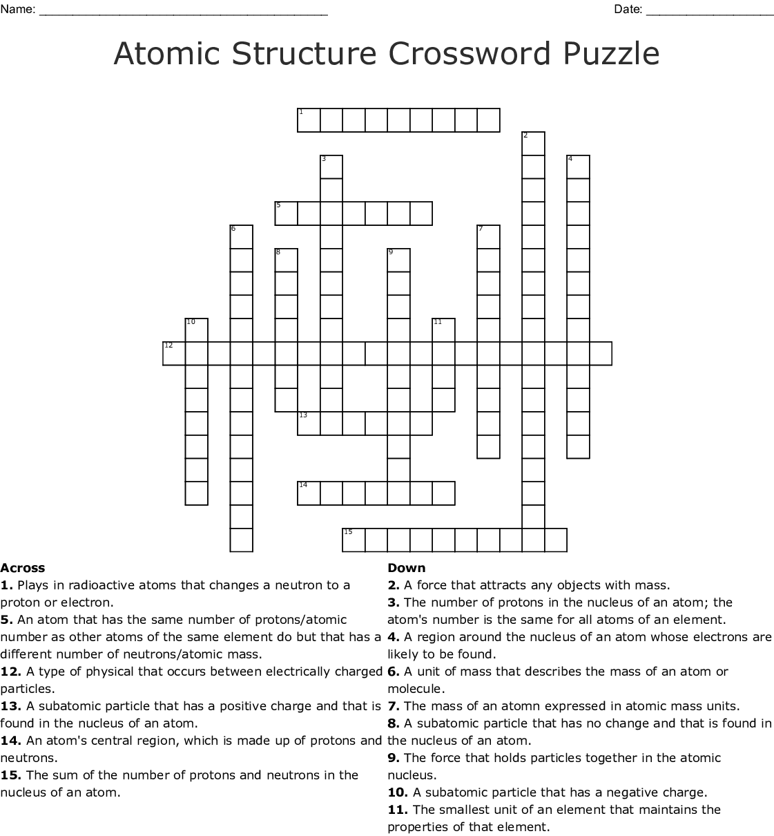 Atomic Structure And The Periodic Table Word Search