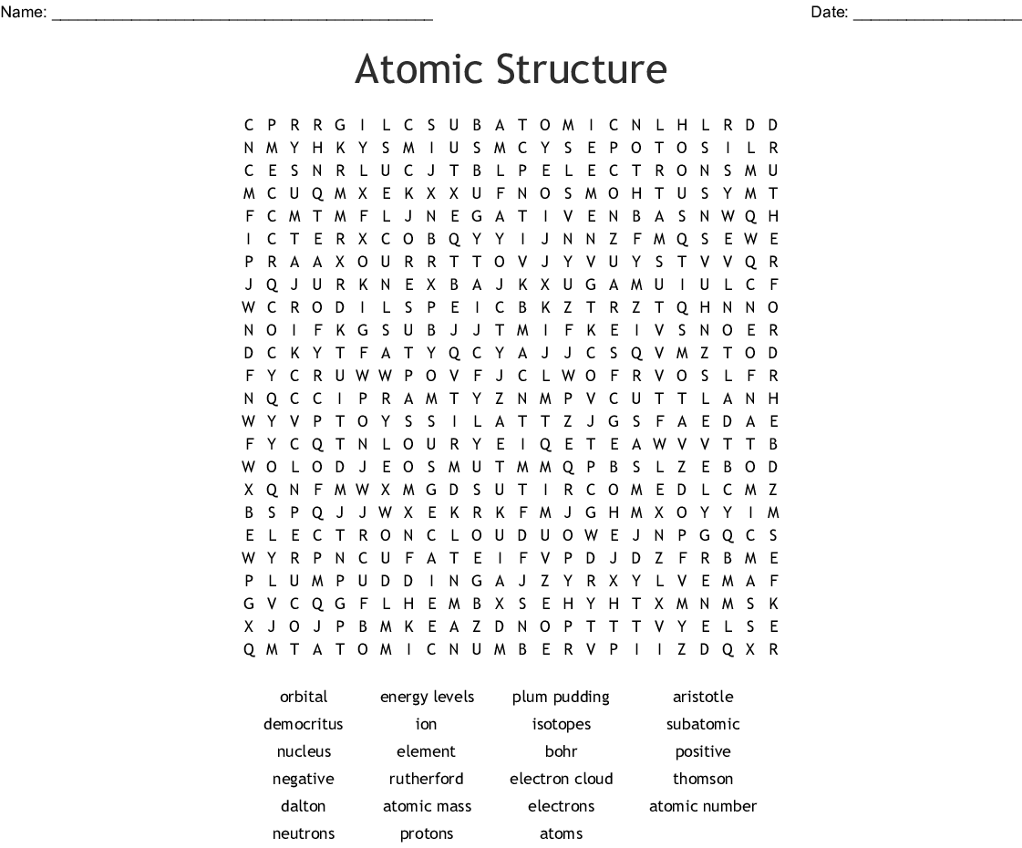 hight resolution of atomic structure word search