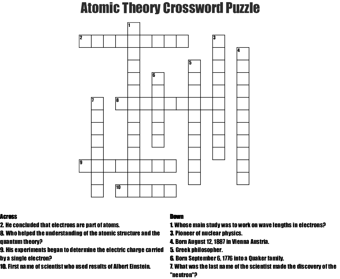 Atomic Theory Crossword Puzzle Crossword