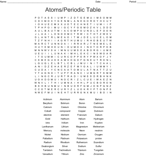 small resolution of atoms periodic table word search