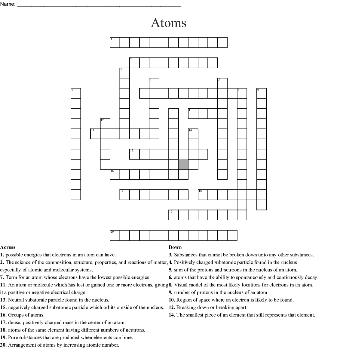 Atomic Structure Crossword Puzzle
