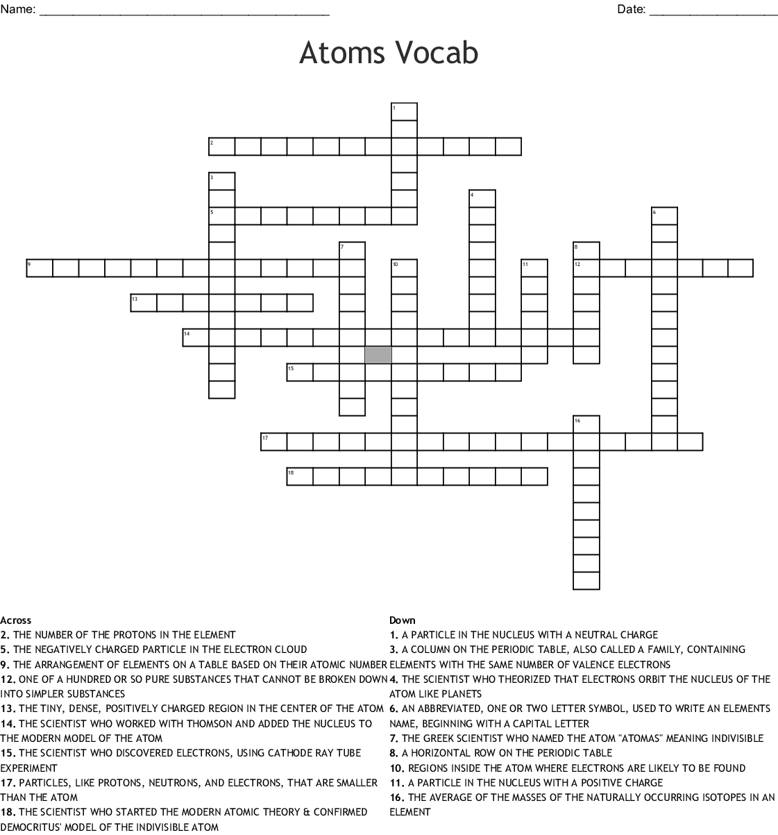 Atoms And Elements Worksheet Answer Key