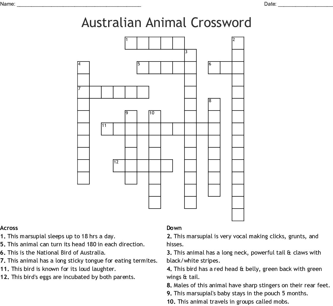 Australian Animal Crossword