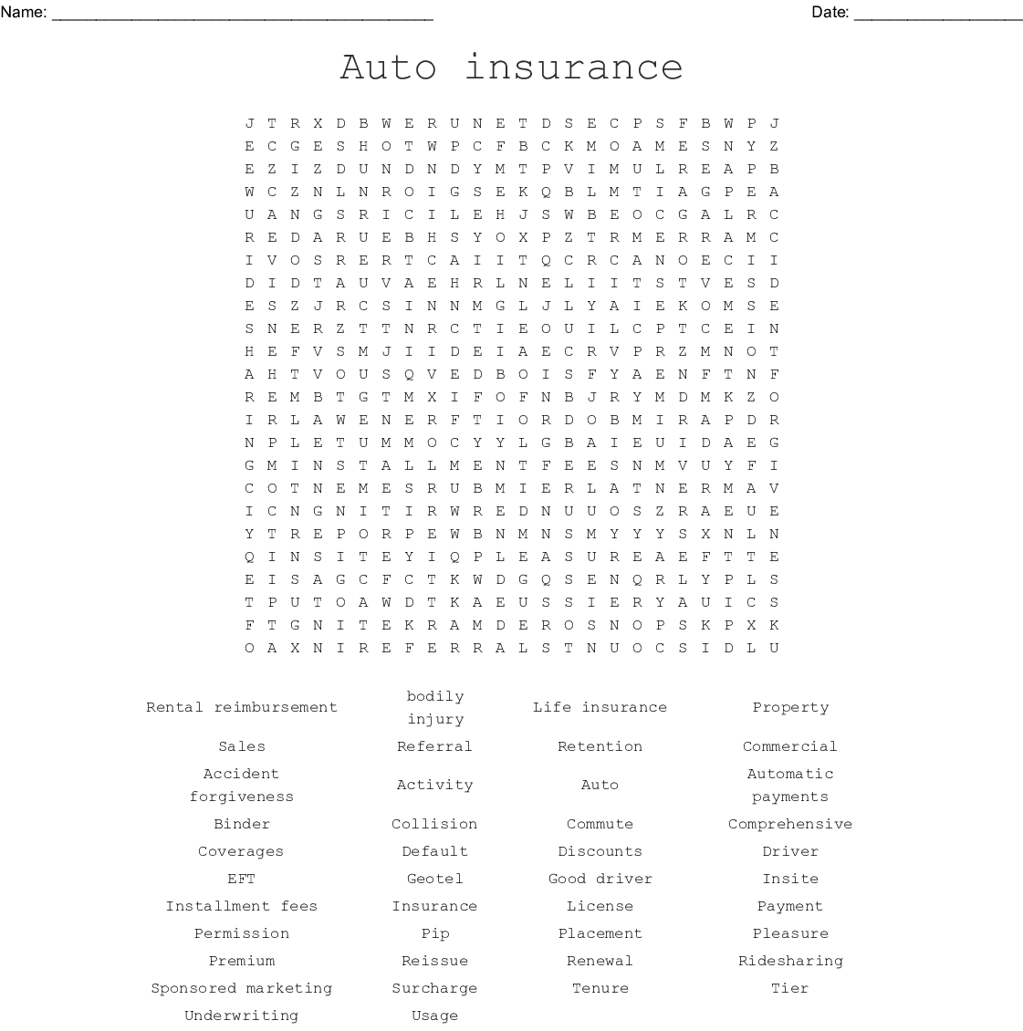 Auto Insurance Word Search Wordmint