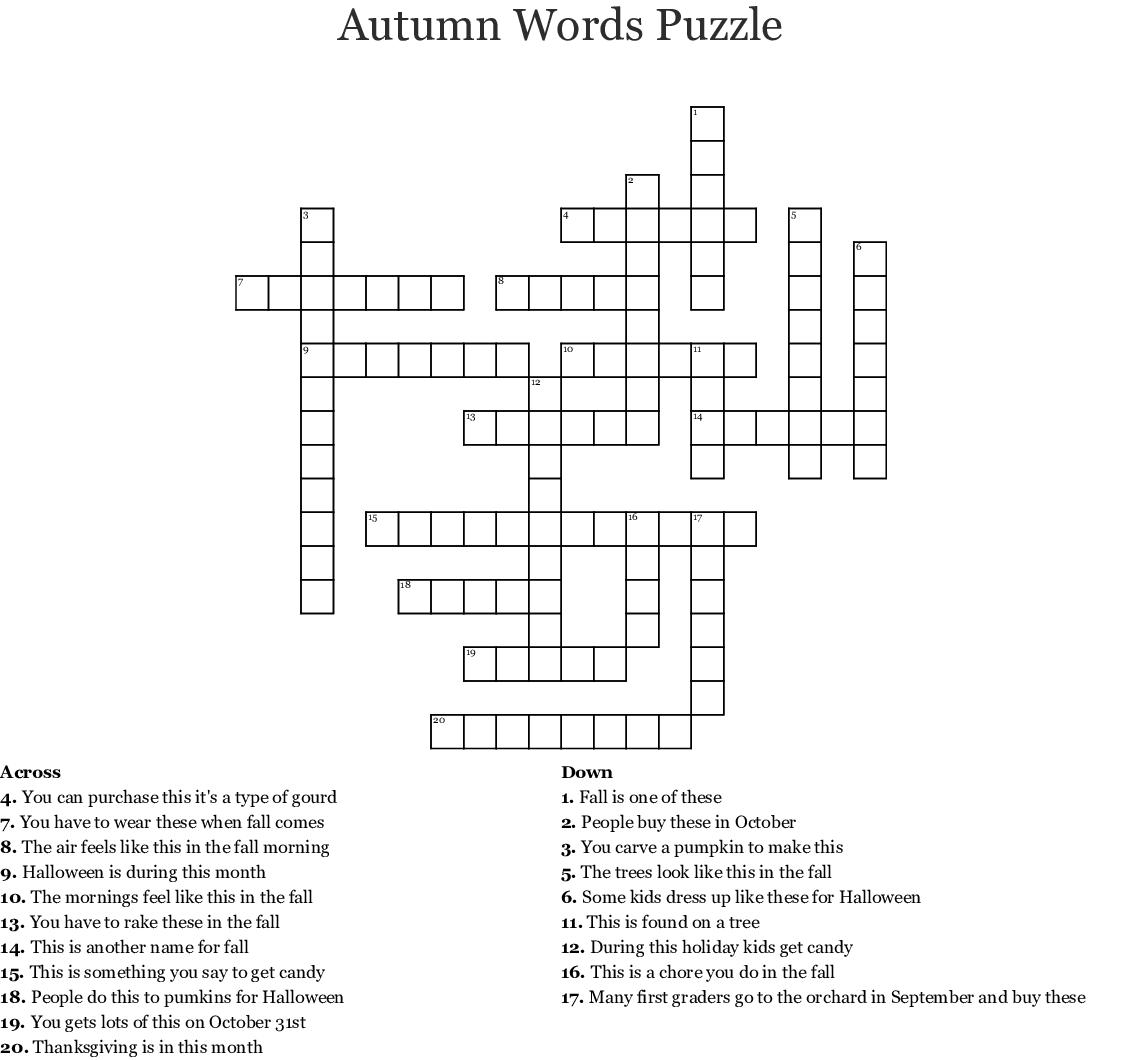 Autumn Crossword Puzzle