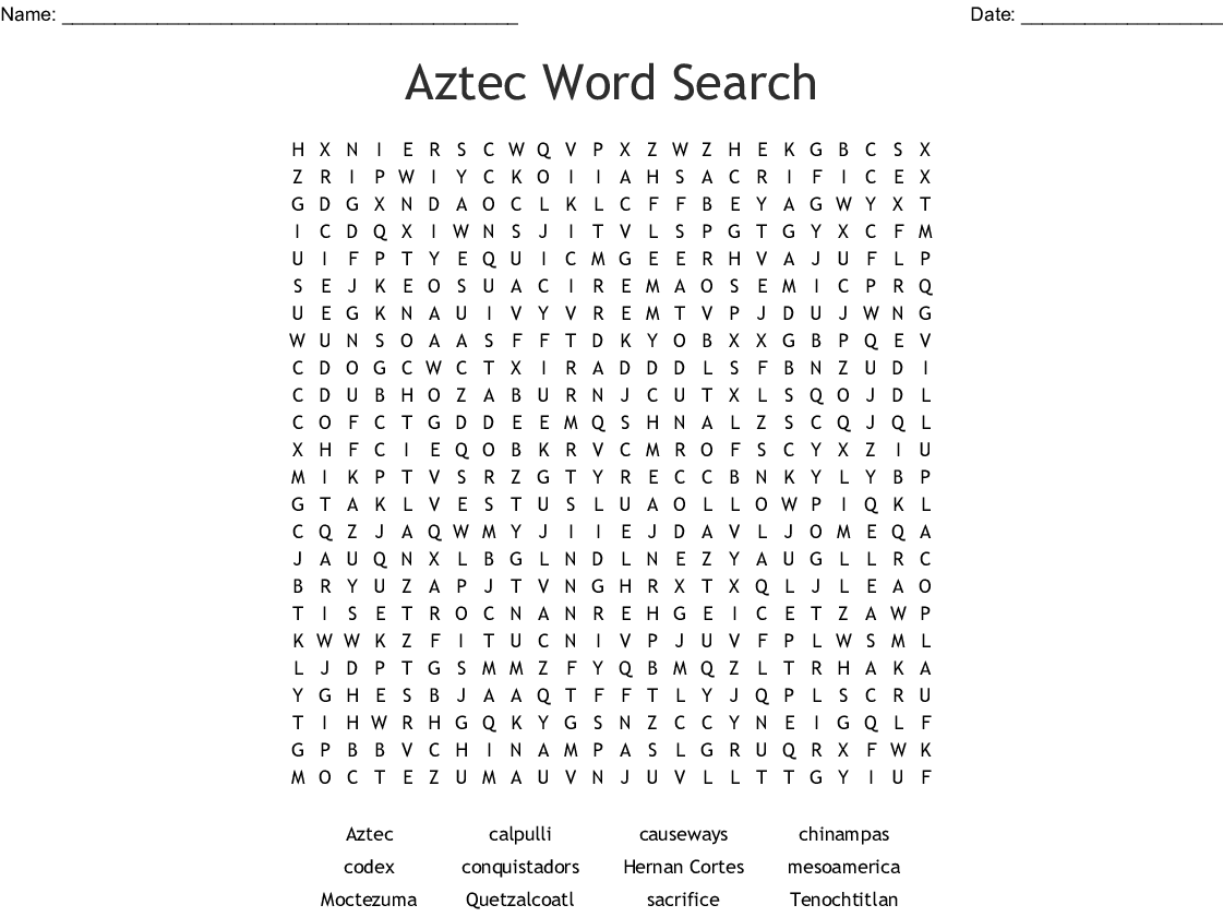 Mayan Word Search