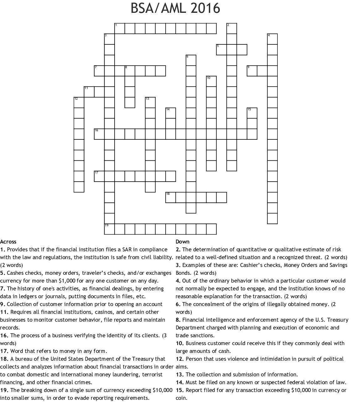 Bank Secrecy Act Crossword