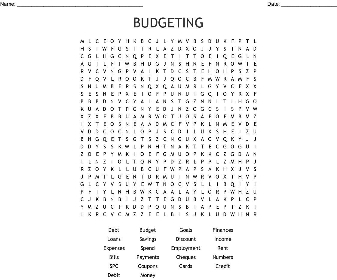 Banking Terms Word Search