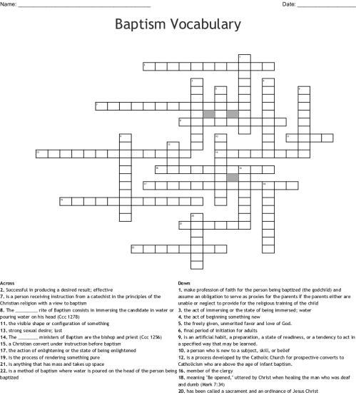 small resolution of baptism vocabulary crossword