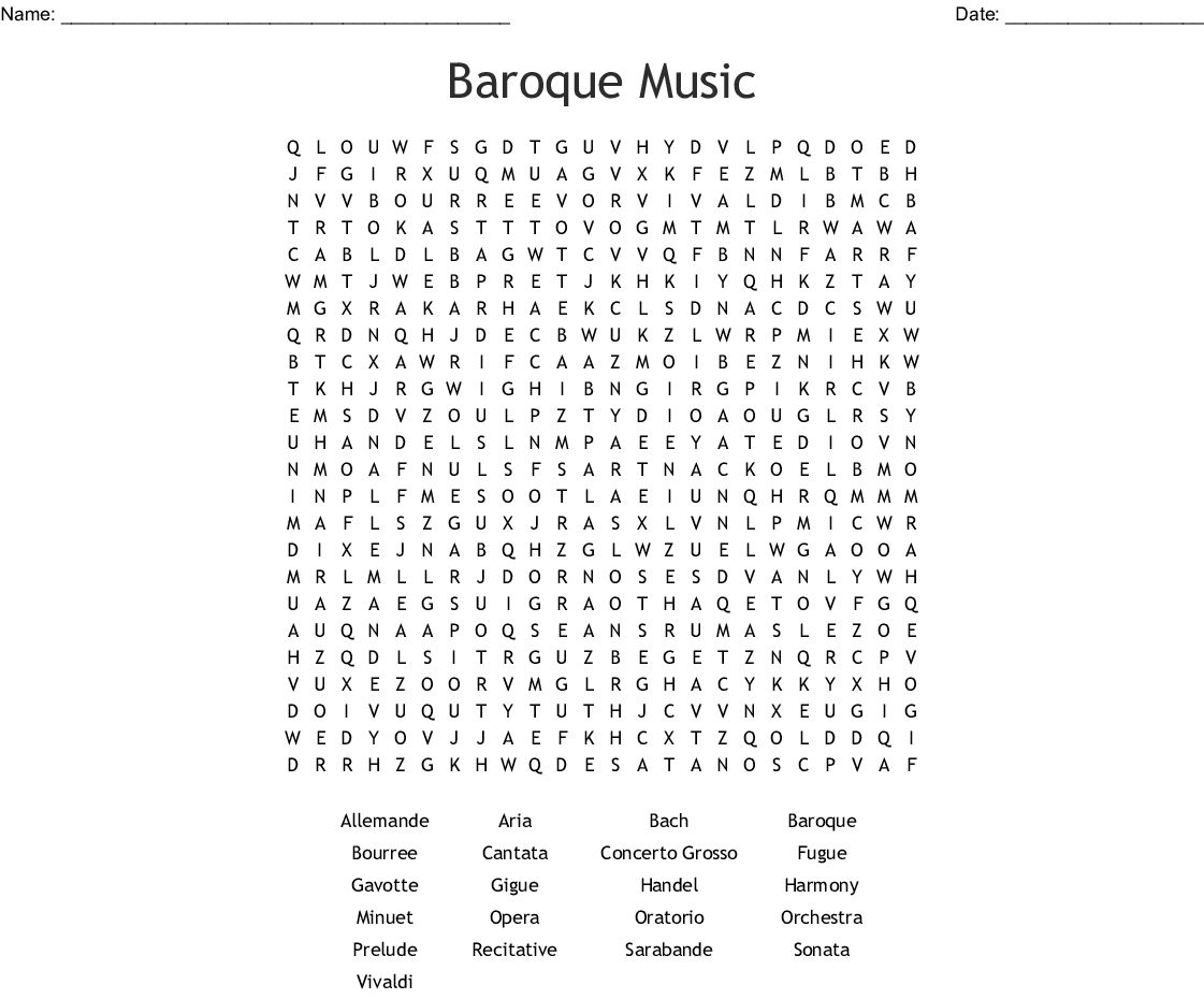 Baroque Music Word Search