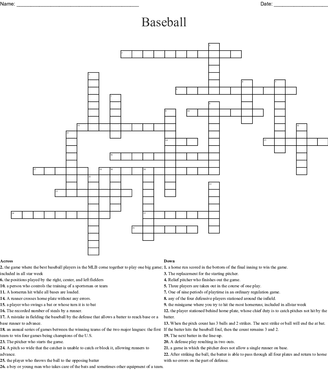 Bowling Terms Crossword