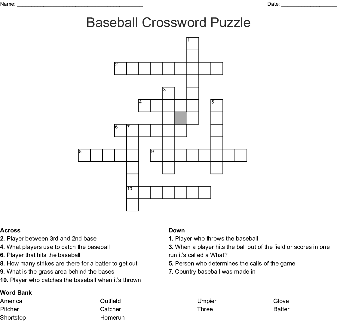 Baseball Crosswords Word Searches Bingo Cards