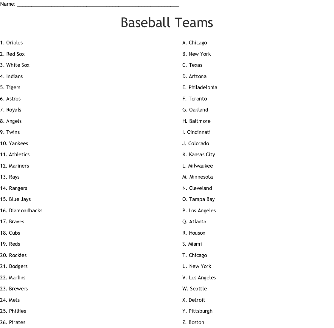 Baseball Teams Crossword
