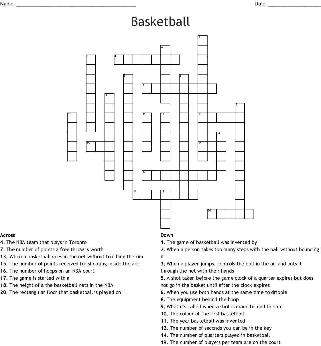 Basketball Crossword