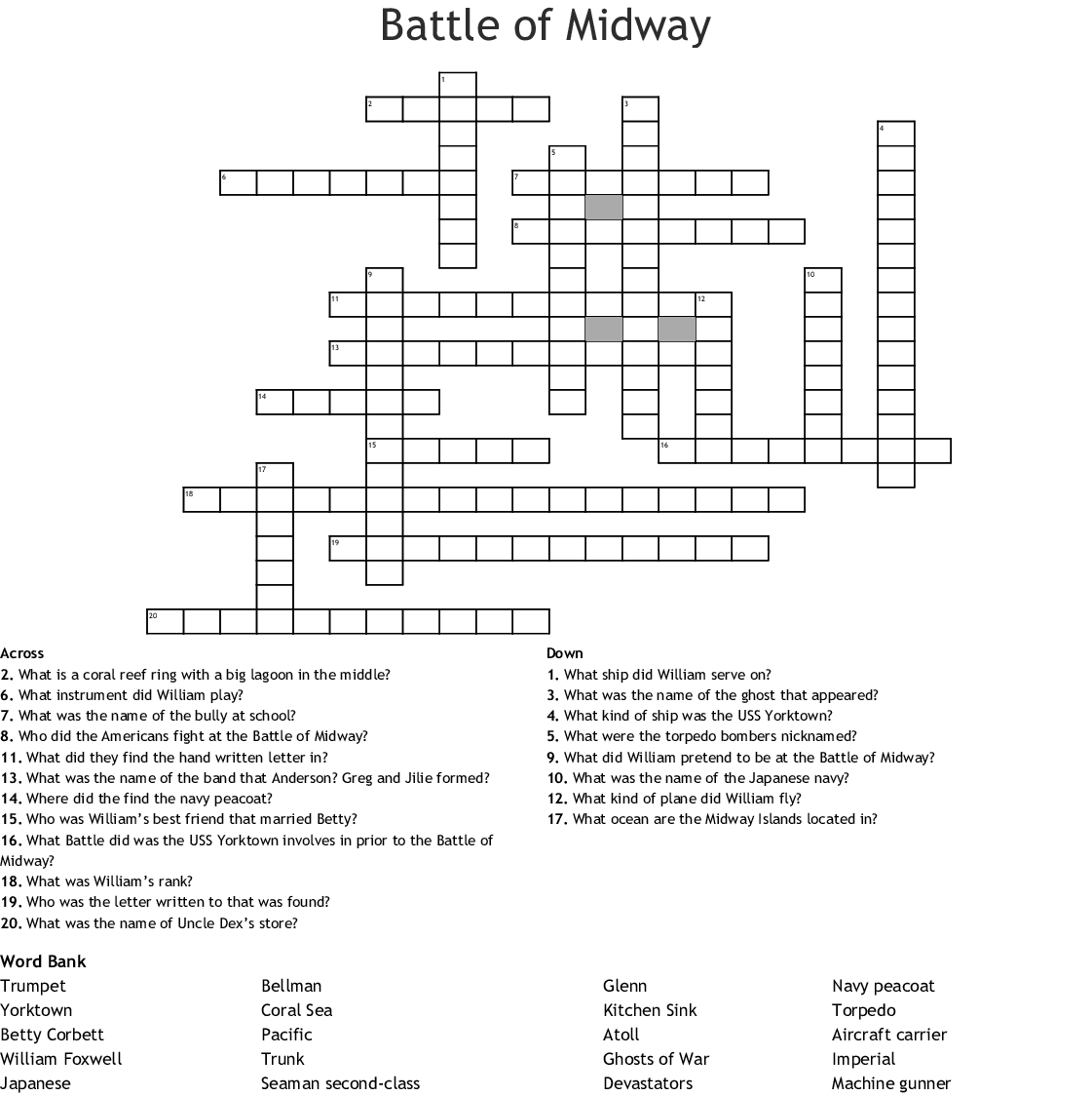 Battle Of Midway Crossword
