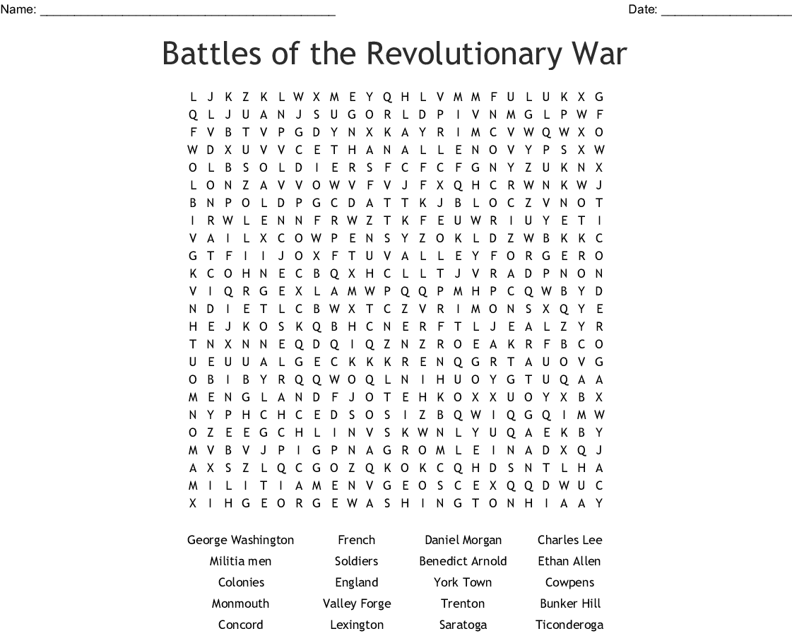 Printable Revolutionary War Word Search