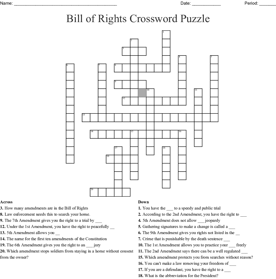Bill Of Rights Crossword Puzzle