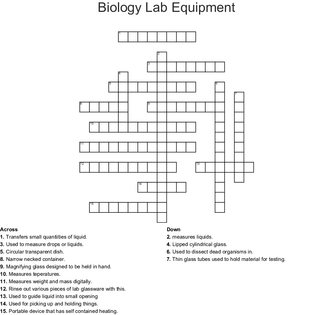 Biology Lab Equipment Crossword