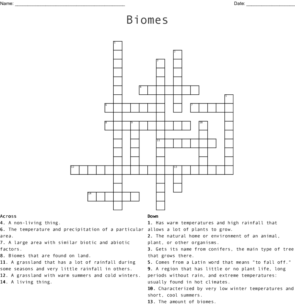 medium resolution of Biomes Crossword - WordMint