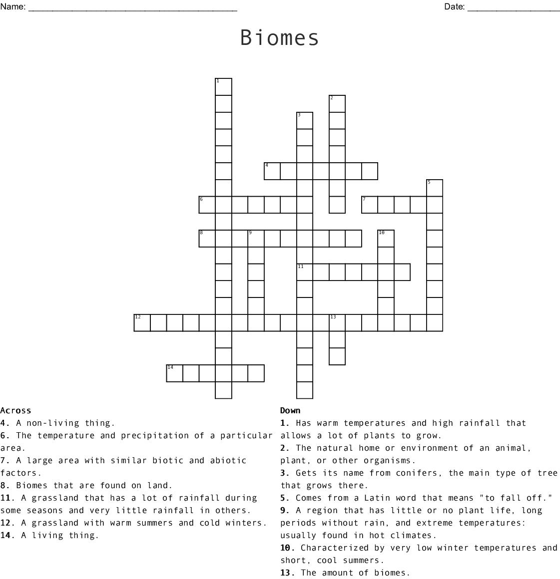 hight resolution of Biomes Crossword - WordMint