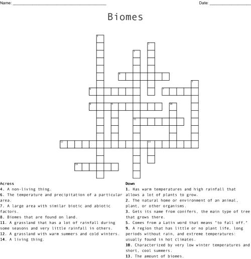 small resolution of Biomes Crossword - WordMint