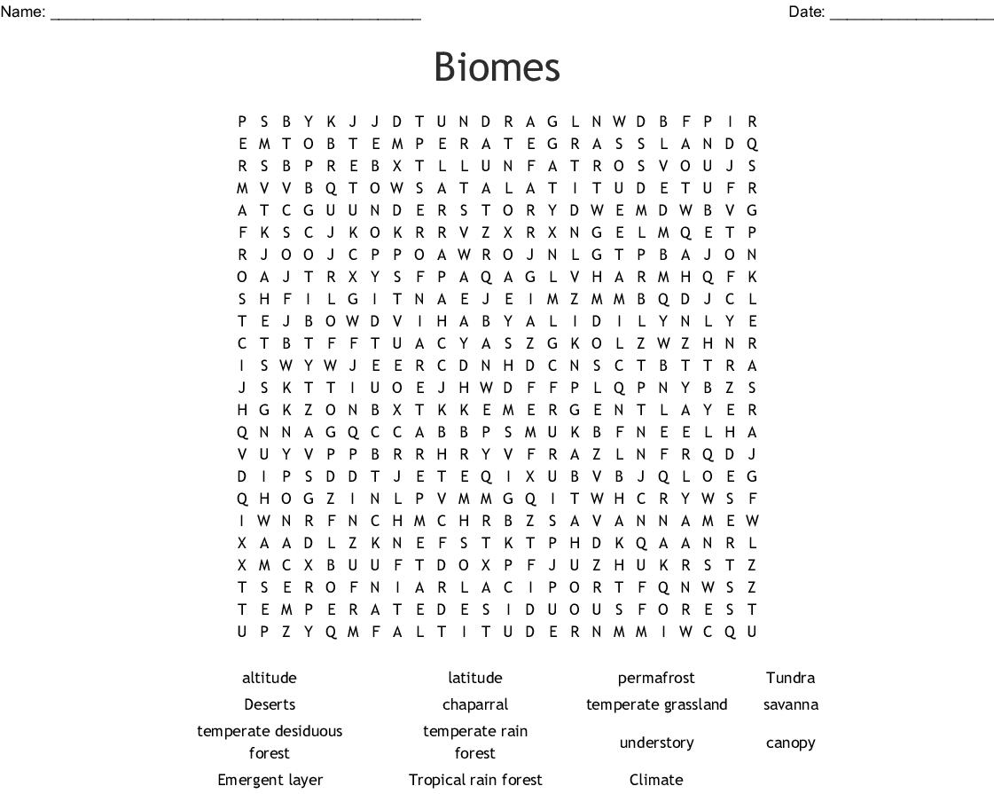 Science Crosswords Word Searches Bingo Cards