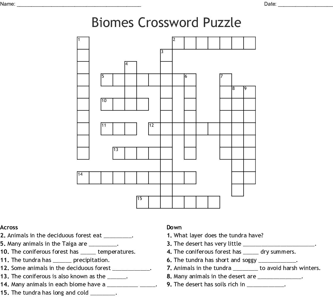 Biomes Crossword Puzzle Crossword