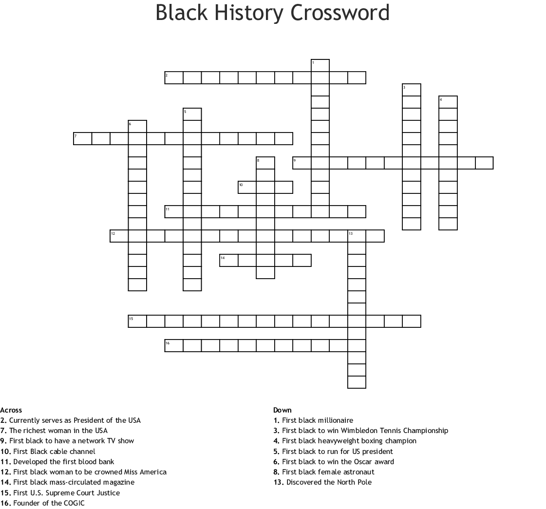 African American History Word Search